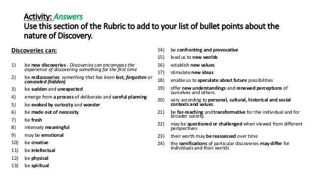 Brilliant Karen Yager making Discovery Rubric make sense ...