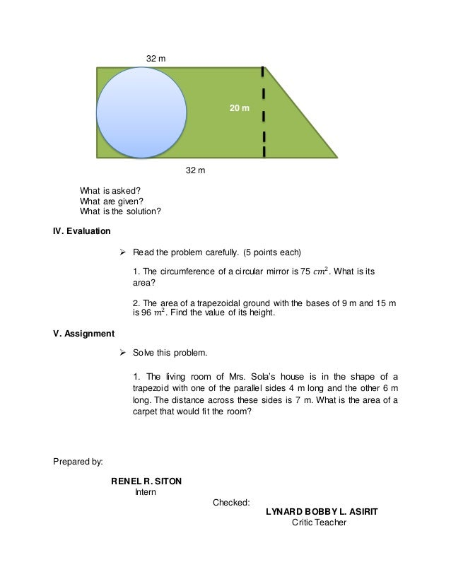 Area of trapezoid and circle problems – Area of Trapezoid Worksheet
