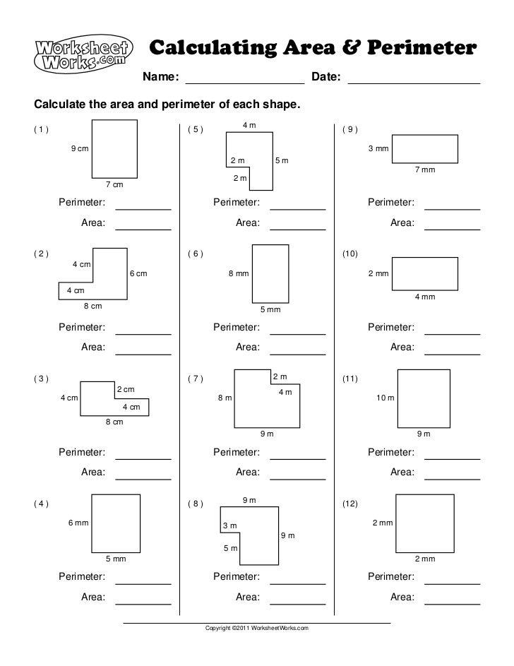Printables Area And Perimeter Worksheets 5th Grade and area worksheets for 5th grade davezan perimeter davezan
