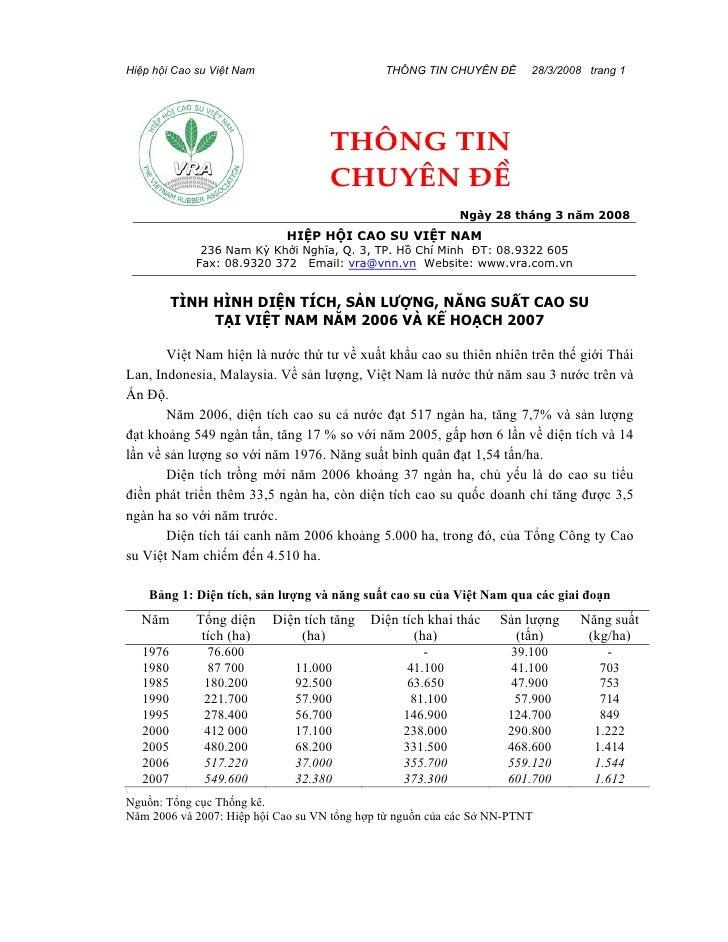 Hiệp hội Cao su Việt Nam                      THÔNG TIN CHUYÊN ĐỀ       28/3/2008 trang 1                                 ...