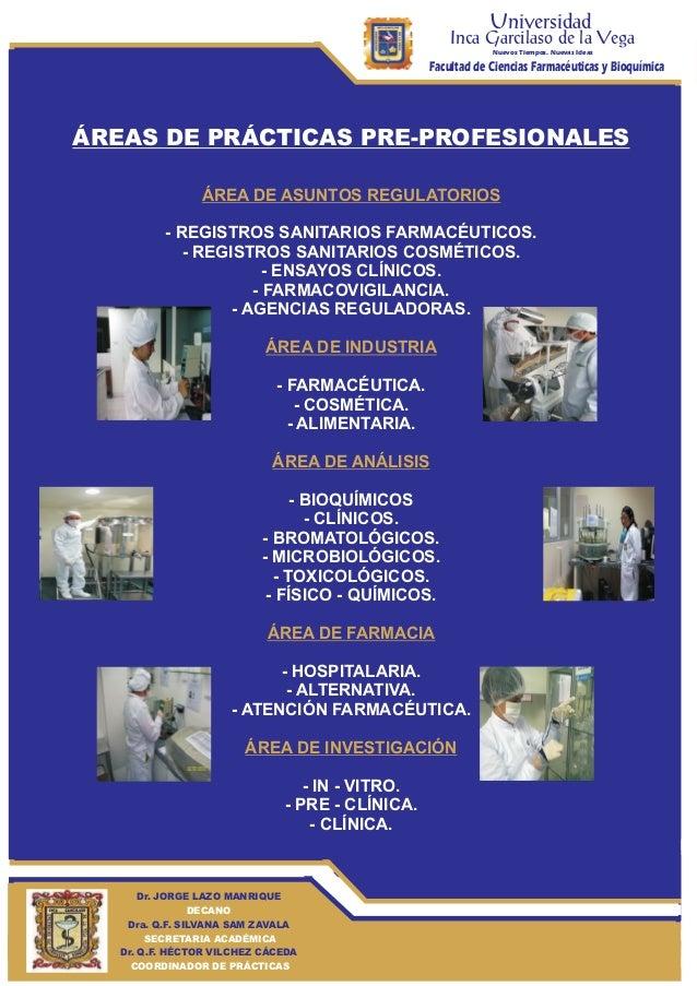 Universidad  Inca Garcilaso de la Vega Nuevos Tiempos. Nuevas Ideas  Facultad de Ciencias Farmacéuticas y Bioquímica  ÁREA...