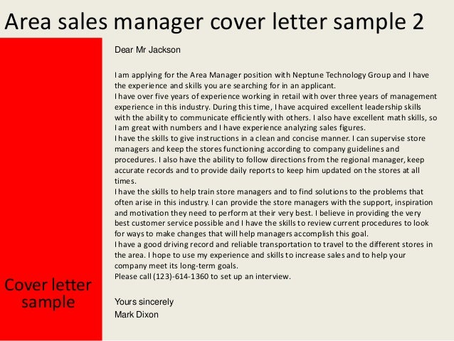 cover letter for mobile phone sales - area sales manager cover letter
