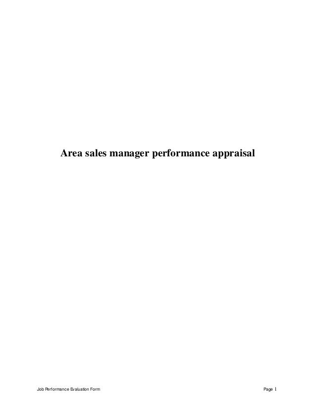 Job Performance Evaluation Form Page 1 Area sales manager performance appraisal