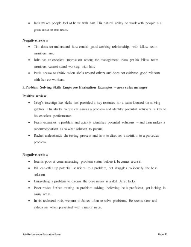 Job Performance Evaluation Form Page 10  Jack makes people feel at home with him. His natural ability to work with people...