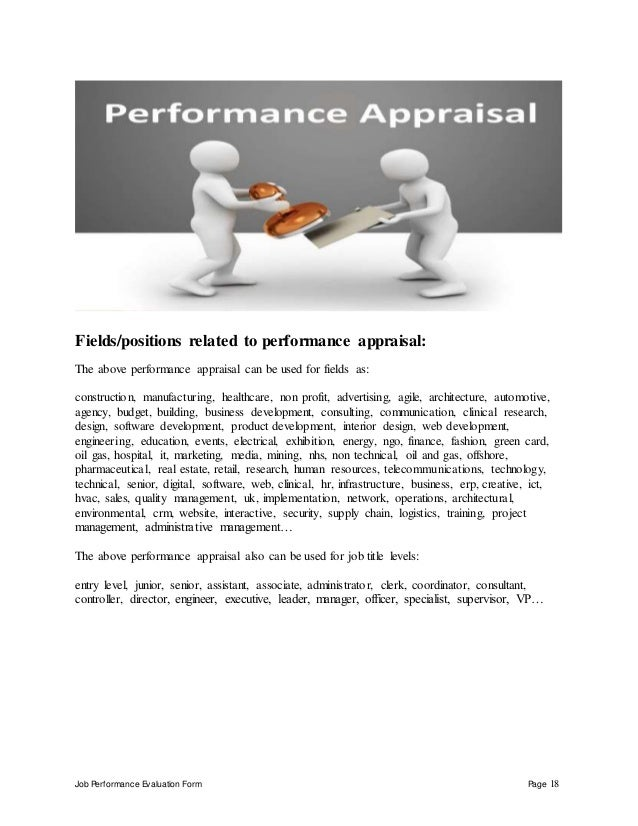 Job Performance Evaluation Form Page 18 Fields/positions related to performance appraisal: The above performance appraisal...