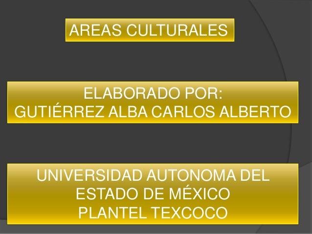 AREAS CULTURALES       ELABORADO POR:GUTIÉRREZ ALBA CARLOS ALBERTO  UNIVERSIDAD AUTONOMA DEL      ESTADO DE MÉXICO      PL...