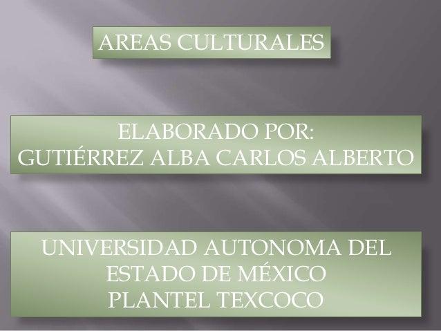 AREAS CULTURALES       ELABORADO POR:GUTIÉRREZ ALBA CARLOS ALBERTO UNIVERSIDAD AUTONOMA DEL     ESTADO DE MÉXICO      PLAN...