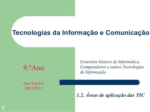 Tecnologias da Informação e Comunicação                       Conceitos básicos de Informática,       9.ºAno          Comp...