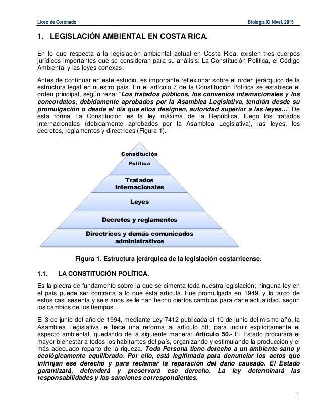 Liceo de Coronado 1. LEGISLACIÓN AMBIENTAL En lo que respecta a la legislación ambiental actual en Costa Rica, existen tre...