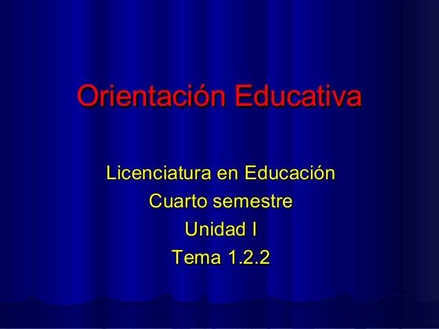 Orientación Educativa  Licenciatura en Educación       Cuarto semestre           Unidad I         Tema 1.2.2