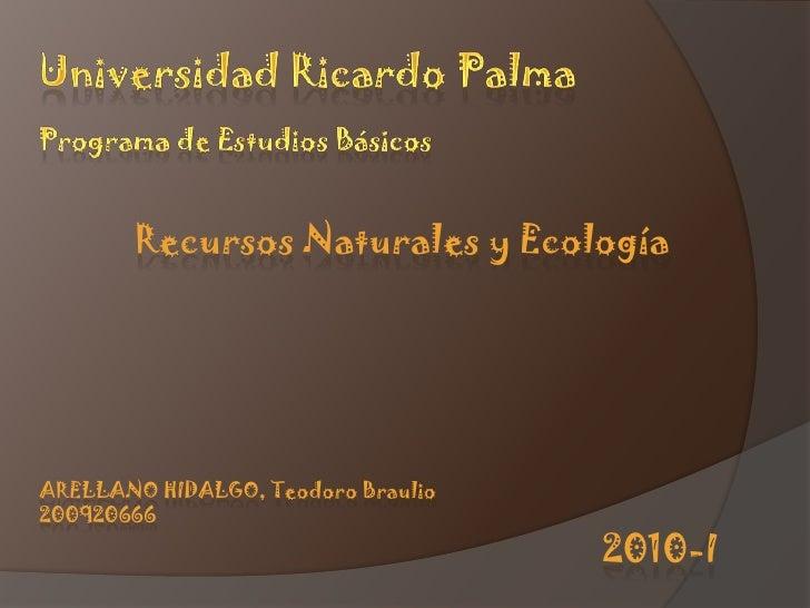 Universidad Ricardo palma<br />Programa de estudios básicos<br />recursos naturales y ecología<br />Arellano hidalgo, Teod...