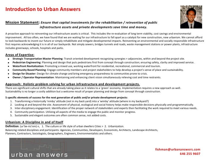 Introduction to Urban Answers  Mission Statement: Ensure that capital investments for the rehabilitation / reinvention of ...