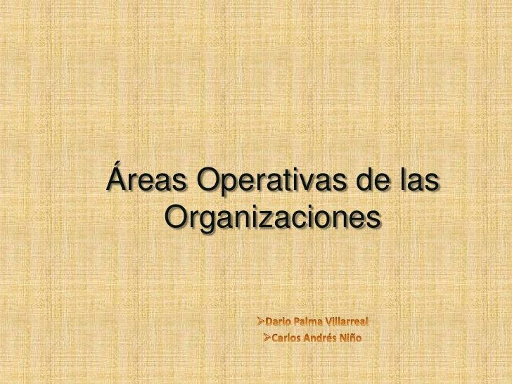 Áreas Operativas de las Organizaciones<br /><ul><li>Dario Palma Villarreal