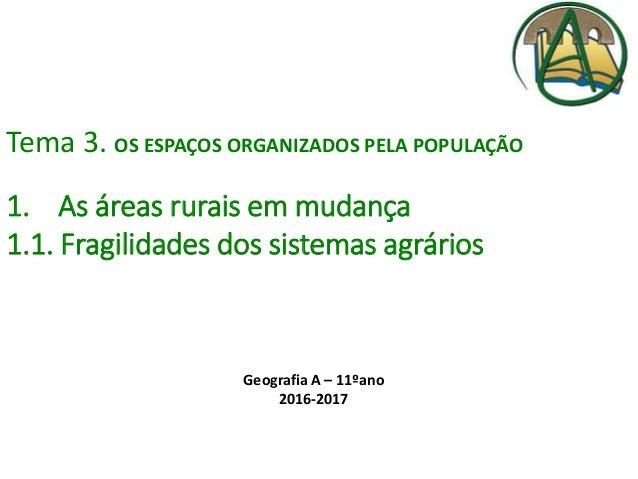 Tema 3. OS ESPAÇOS ORGANIZADOS PELA POPULAÇÃO 1. As áreas rurais em mudança 1.1. Fragilidades dos sistemas agrários Geogra...
