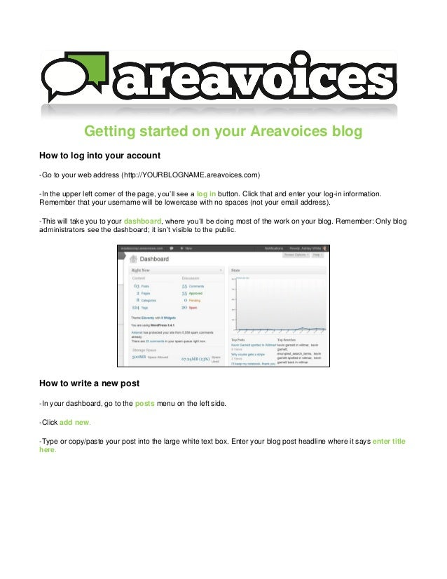 Getting started on your Areavoices blogHow to log into your account-Go to your web address (http://YOURBLOGNAME.areavoices...