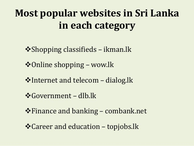 online marketing in sri lanka Online marketing in sri lanka 1 introduction the development of online marketing in sri lanka is lagging behind when compared to developed countries the.