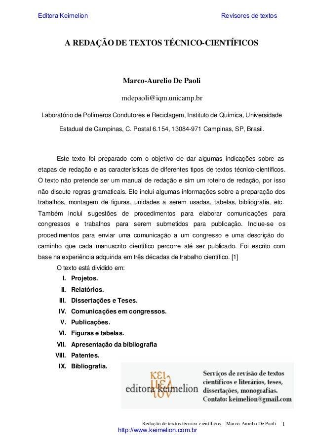 Editora Keimelion  Revisores de textos  A REDAÇÃO DE TEXTOS TÉCNICO-CIENTÍFICOS  Marco-Aurelio De Paoli mdepaoli@iqm.unica...
