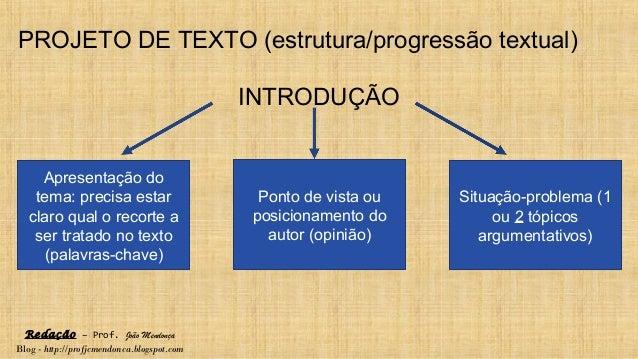 Redação – Prof. João Mendonça Blog - http://profjcmendonca.blogspot.com PROJETO DE TEXTO (estrutura/progressão textual) IN...