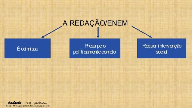 Redação – Prof. João Mendonça Blog - http://profjcmendonca.blogspot.com A REDAÇÃO/ENEM É otimista Prezapelo politicamentec...
