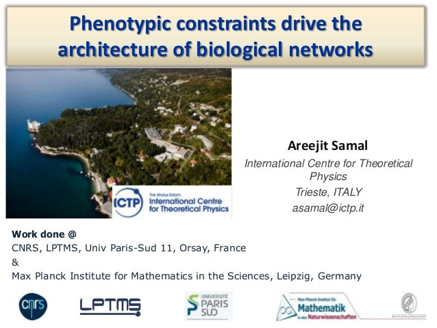 Areejit SamalInternational Centre for TheoreticalPhysicsTrieste, ITALYasamal@ictp.itPhenotypic constraints drive thearchit...