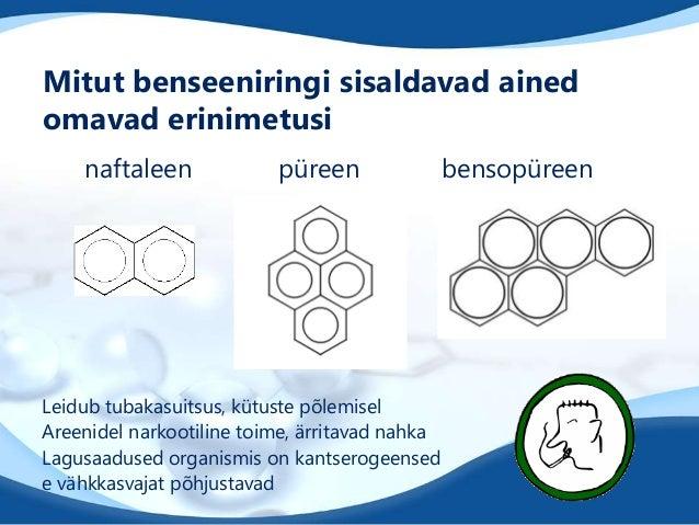 Mitut benseeniringi sisaldavad ainedomavad erinimetusinaftaleen püreen bensopüreenLeidub tubakasuitsus, kütuste põlemiselA...