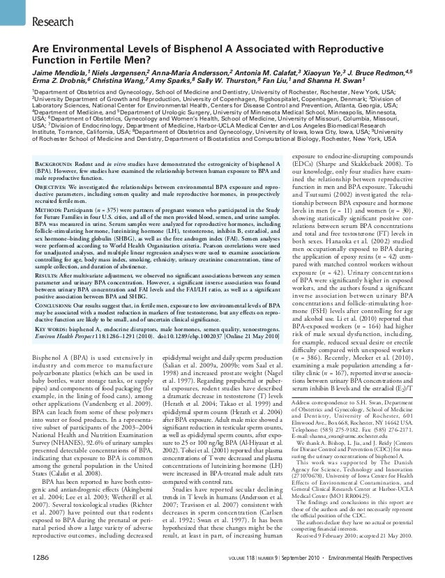 1286 volume 118 | number 9 | September 2010 • Environmental Health Perspectives Research Bisphenol A (BPA) is used exte...