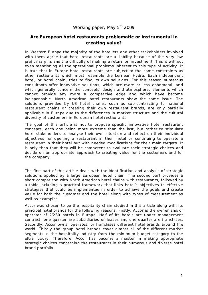 Working paper, May 5th 2009  Are European hotel restaurants problematic or instrumental in                         creatin...