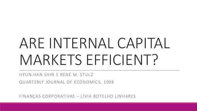 ARE INTERNAL CAPITAL MARKETS EFFICIENT? HYUN-HAN SHIN E RENÉ M. STULZ QUARTERLY JOURNAL OF ECONOMICS, 1998 FINANÇAS CORPOR...
