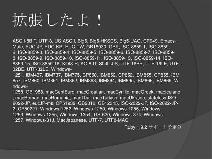 拡張したよ!<br />ASCII-8BIT, UTF-8, US-ASCII, Big5, Big5-HKSCS, Big5-UAO, CP949, Emacs-Mule, EUC-JP, EUC-KR, EUC-TW, GB18030, G...