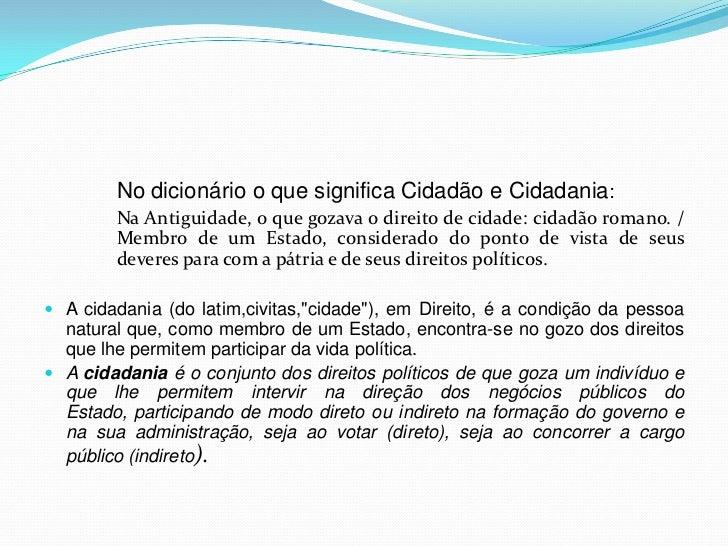 A relação entre cidadania Slide 3