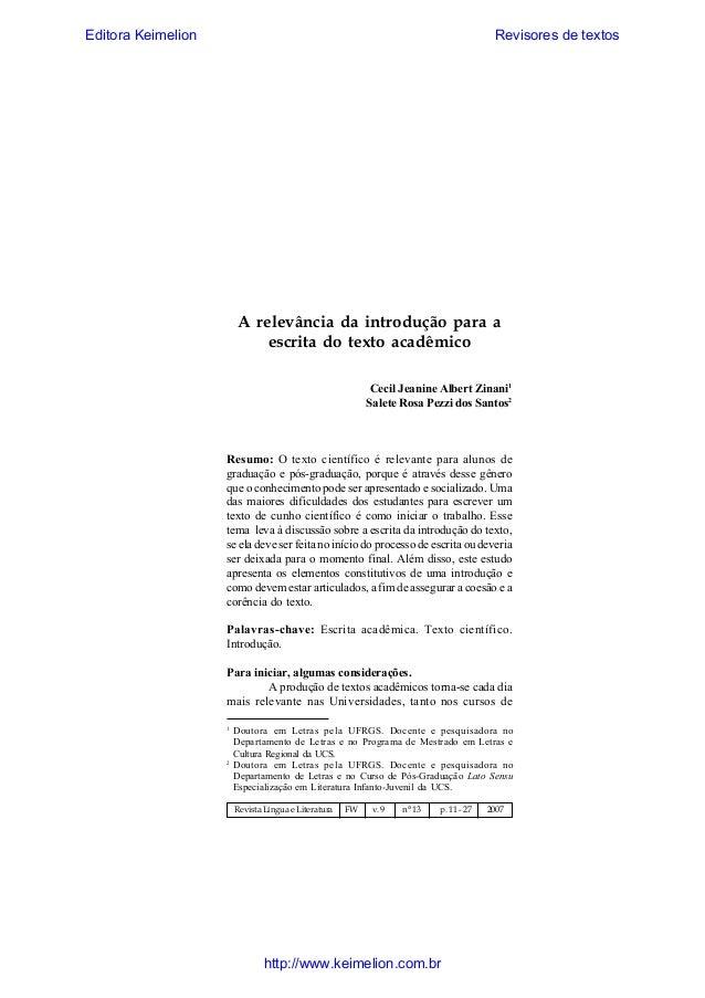 Editora Keimelion  Revisores de textos  Revista Língua & Literatura  11  A relevância da introdução para a escrita do text...