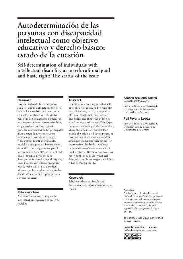 """Para citar: Arellano, A. y Peralta, F. (2013): """"Autodeterminación de las personas con discapacidad intelectual como objeti..."""