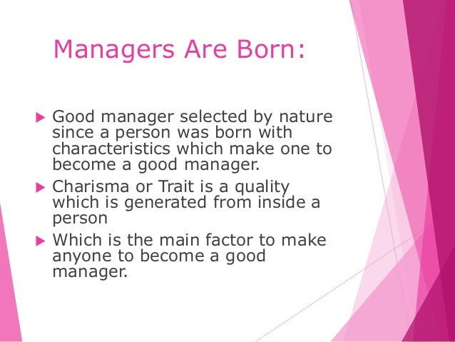 is a manager born or made