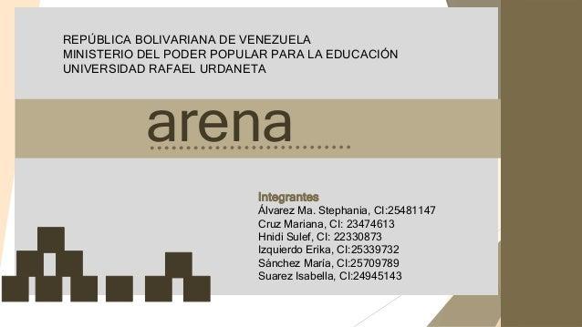 REPÚBLICA BOLIVARIANA DE VENEZUELA MINISTERIO DEL PODER POPULAR PARA LA EDUCACIÓN UNIVERSIDAD RAFAEL URDANETA arena Integr...