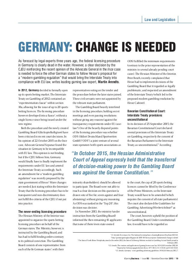 Law and Legislation iGamingBusiness | Issue 95 | November/December 2015 | 19 As forecast by legal experts three years ago,...