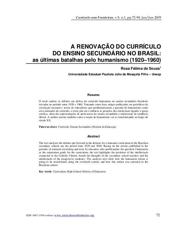 Currículo sem Fronteiras, v.9, n.1, pp.72-90, Jan/Jun 2009   ISSN 1645-1384 (online) www.curriculosemfronteiras.org 72...
