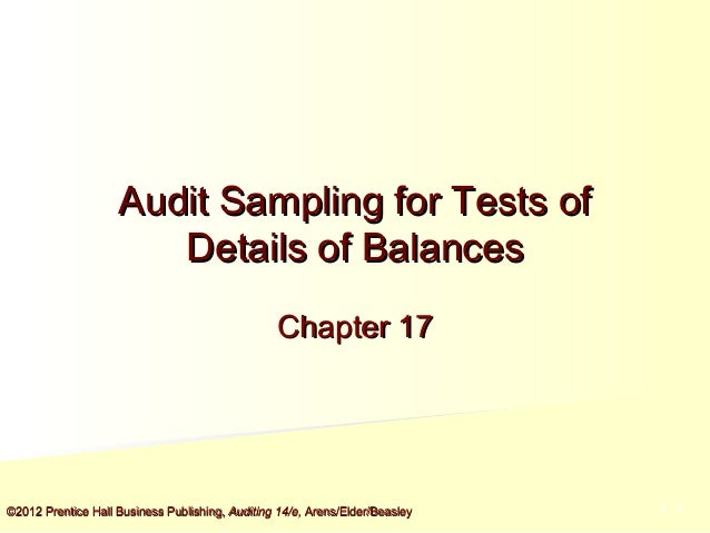 Audit Sampling for Tests of Details of Balances Chapter 17  ©2012 Prentice Hall Business Publishing, Auditing 14/e, Arens/...