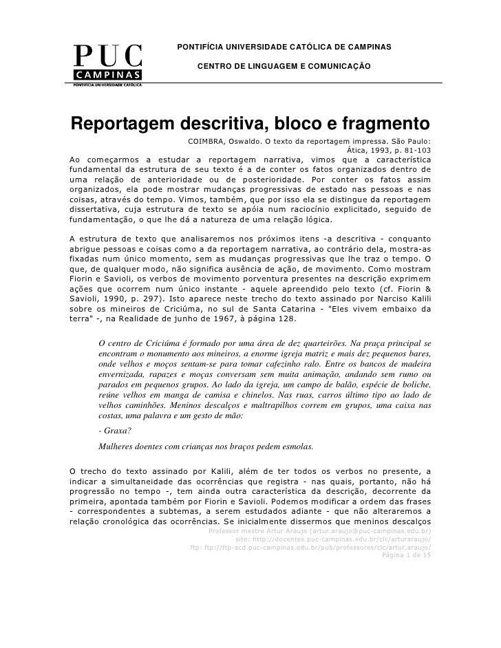 PONTIFÍCIA UNIVERSIDADE CATÓLICA DE CAMPINAS                                 CENTRO DE LINGUAGEM E COMUNICAÇÃO            ...