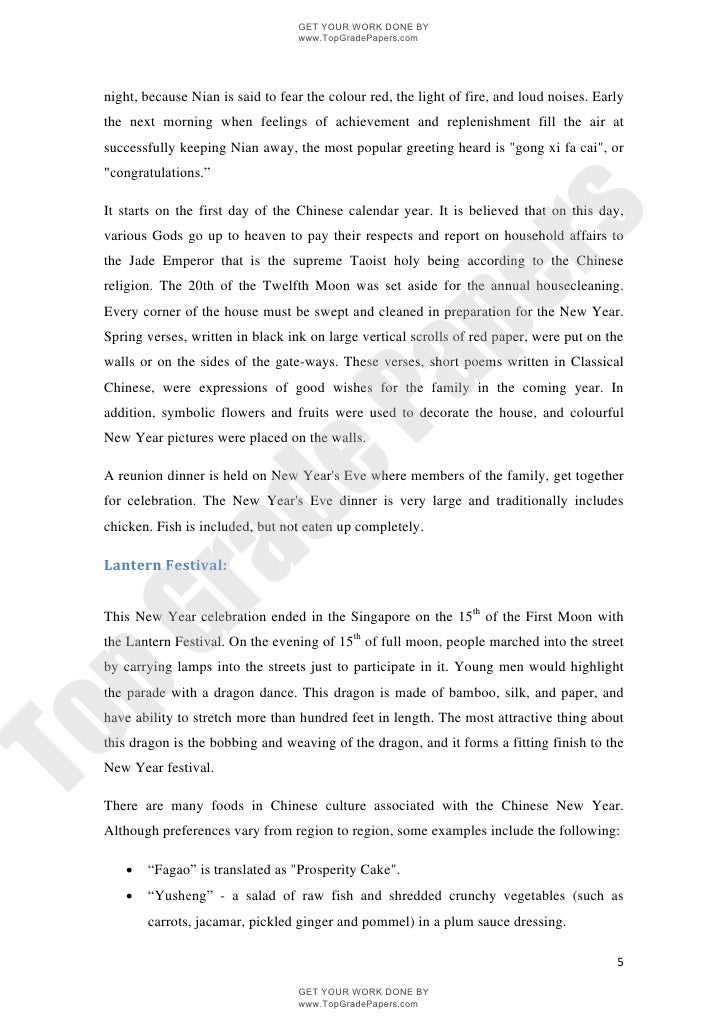 A Report On Chinese New Year 2009 Singapore Www Topgradepapers Com
