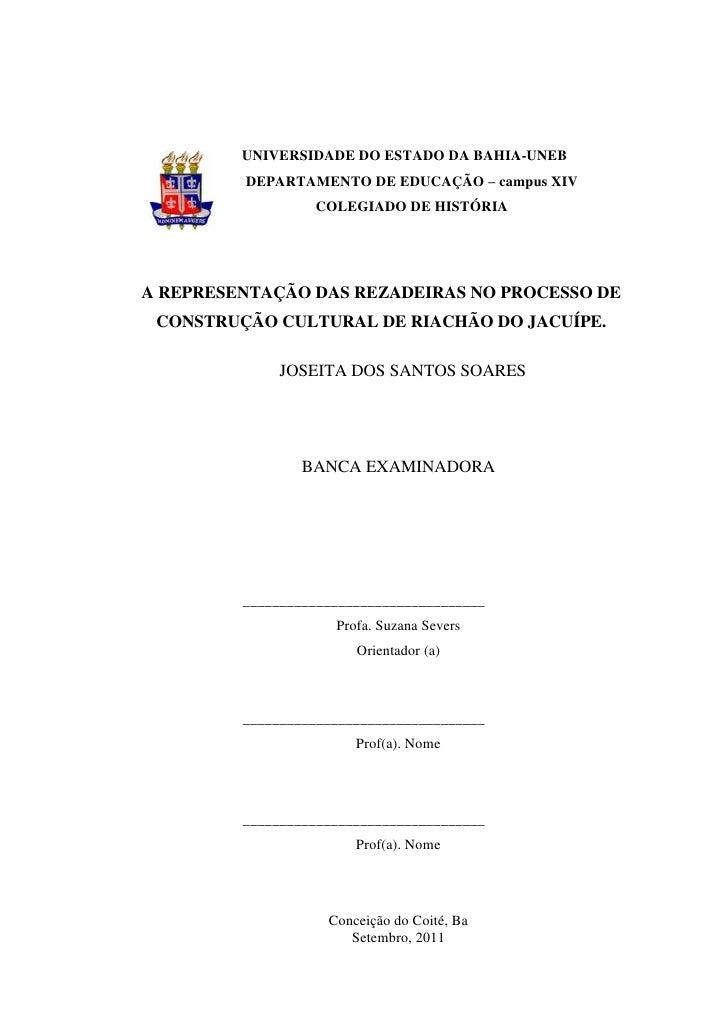 UNIVERSIDADE DO ESTADO DA BAHIA-UNEB         DEPARTAMENTO DE EDUCAÇÃO – campus XIV                  COLEGIADO DE HISTÓRIA ...