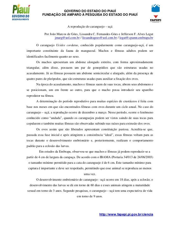GOVERNO DO ESTADO DO PIAUÍ            FUNDAÇÃO DE AMPARO À PESQUISA DO ESTADO DO PIAUÍ                               A rep...