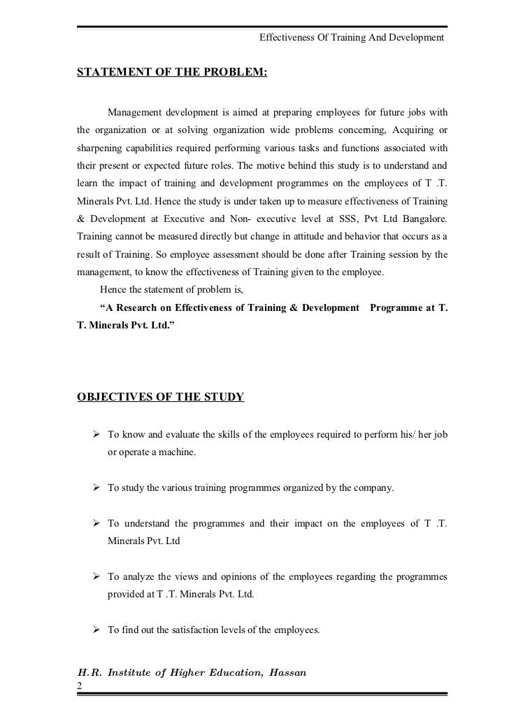 effectiveness of training and development