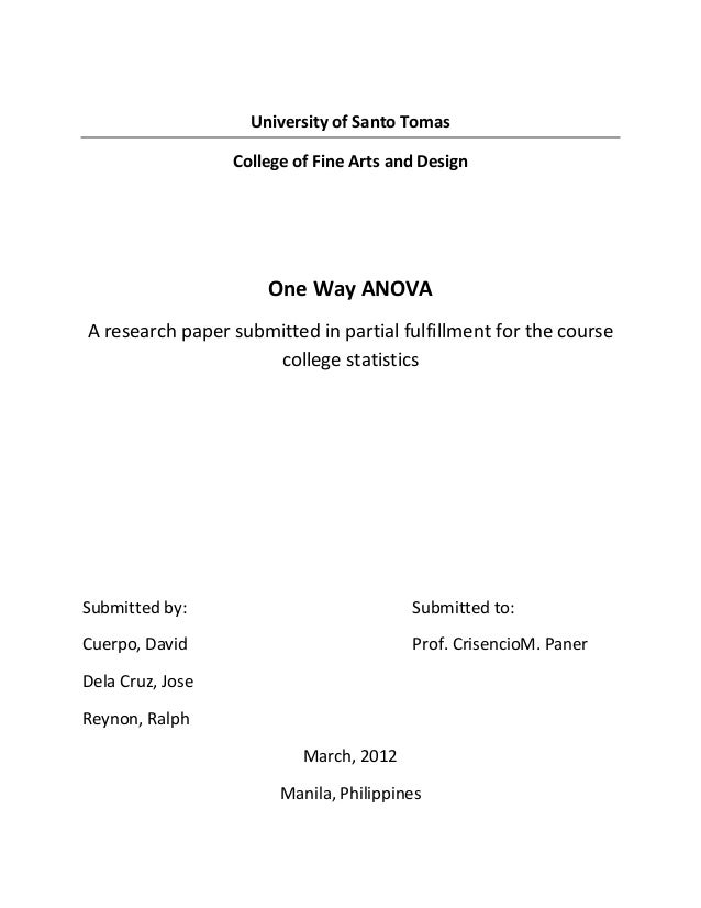 Basic Concepts for ANOVA