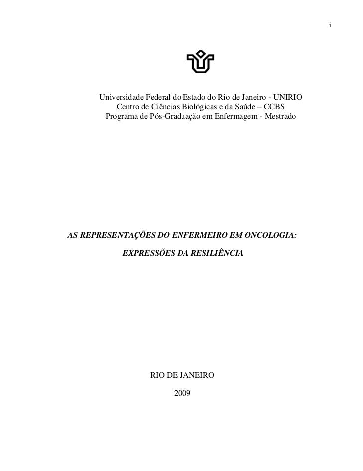 i      Universidade Federal do Estado do Rio de Janeiro - UNIRIO          Centro de Ciências Biológicas e da Saúde – CCBS ...