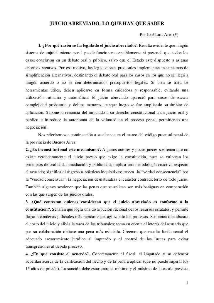 JUICIO ABREVIADO: LO QUE HAY QUE SABER                                                                    Por José Luis Ar...