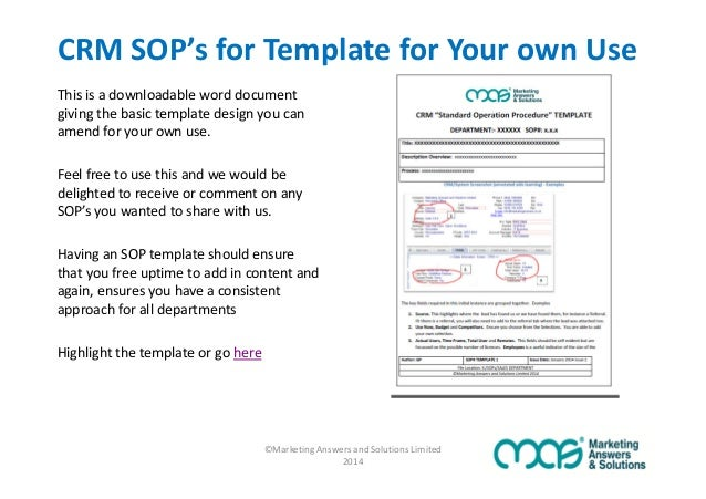 ©Marketing Answers And Solutions Limited 2014; 10. CRM SOPu0027s For Template  ...