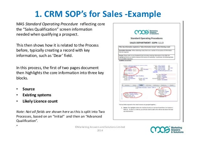 Sop Templates Are Sops The Secret To Crm Adoption Success Equipment