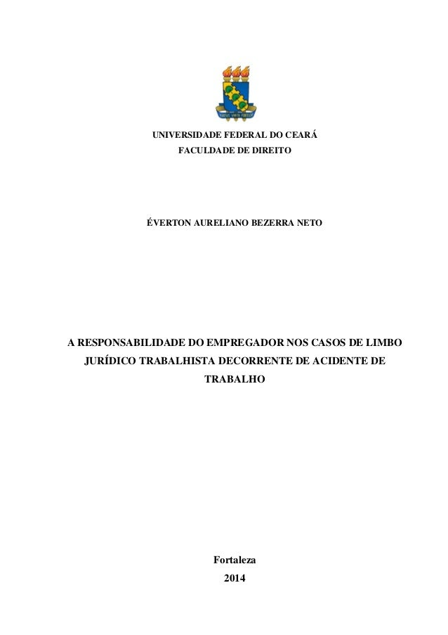 UNIVERSIDADE FEDERAL DO CEARÁ FACULDADE DE DIREITO  ÉVERTON AURELIANO BEZERRA NETO  A RESPONSABILIDADE DO EMPREGADOR NOS C...