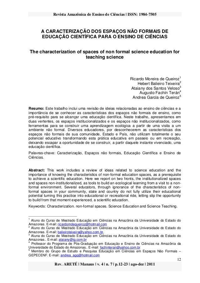Revista Amazônica de Ensino de Ciências | ISSN: 1984-7505 12 Rev. ARETÉ | Manaus | v. 4 | n. 7 | p.12-23 | ago-dez | 2011 ...