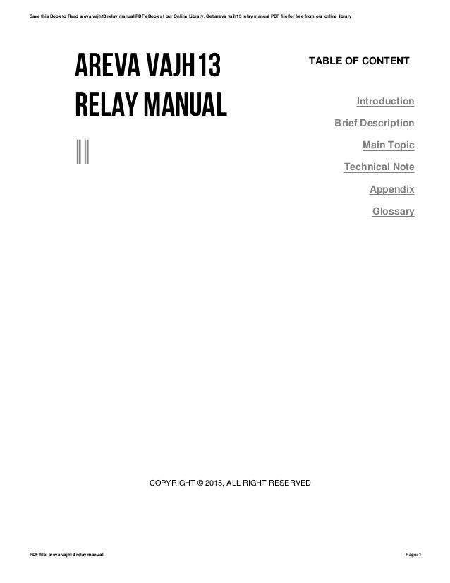 Areva vajh13 relay manual